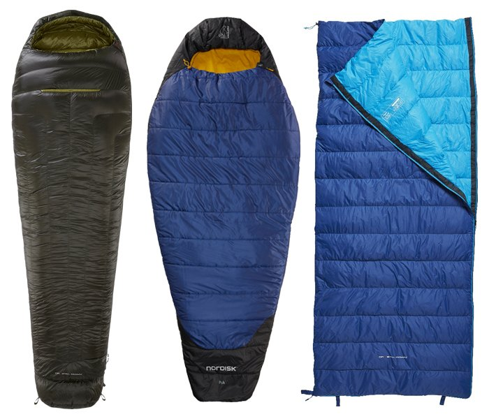 tre forskellige pasformer op sovepose
