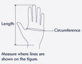 Størrelsesguide Haglöfs - handsker - damer og herrer